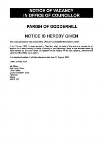 notice of vacancy dodderhill parish council